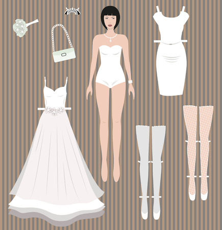 dress up: Dress up paper doll. Bride, wedding dress and accessories redy for cut out and play. Stock Photo