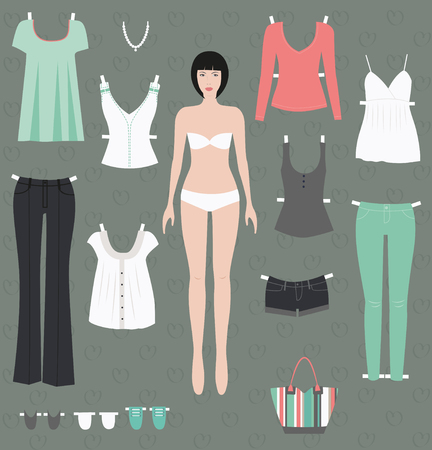 ready to cut: Dress up paper doll ready for cut and play. Vector Stock Photo