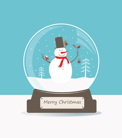vidrio: Feliz navidad bola de cristal con nieve y pájaros.