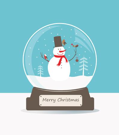 boule de neige: Merry boule en verre de Noël avec bonhomme de neige et les oiseaux.