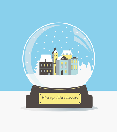 glass ball: Illustration of christmas snow glass ball with houses