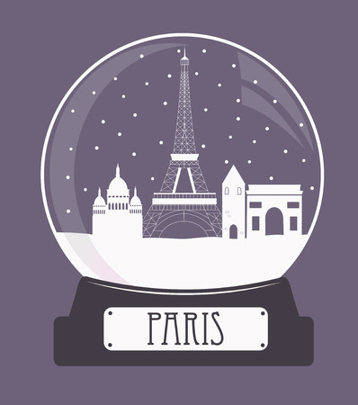 Illustration of Paris christmas glass snow ball.