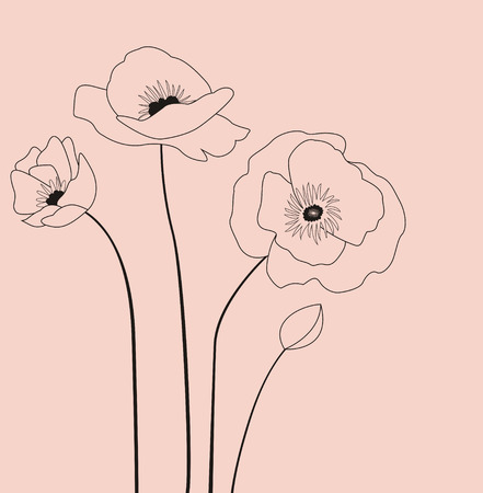 ease: Decoration with Poppies flowers in pink color.