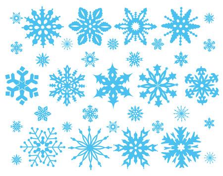 snowflakes: Set of  blue Snowflakes isolated on white.