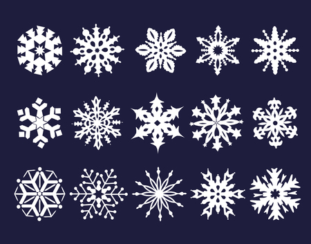 Collection of white snowflakes on blue background. 스톡 콘텐츠