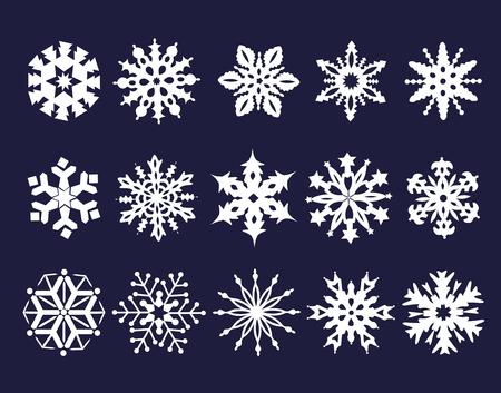 copo de nieve: Colección de copos de nieve blancas sobre fondo azul. Foto de archivo