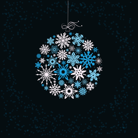christmas snowflakes: Decoration with christmas ball from colored  snowflakes.