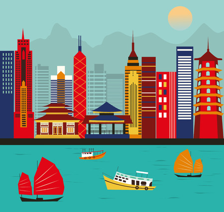 hong kong harbour: Big city in Asia. Stock Photo