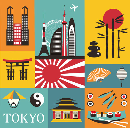 Symbols of Tokyo in bright colors