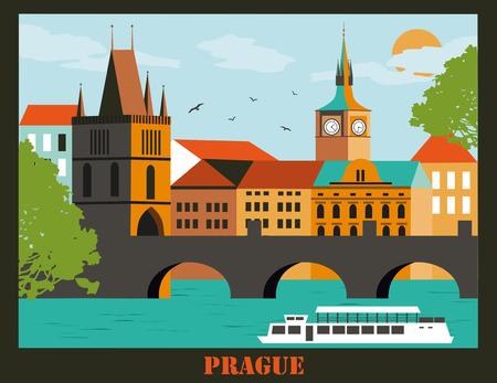 Prag Stadt in Tschechien in hellen Farben