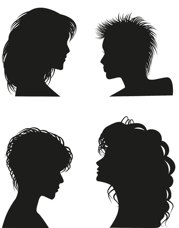 jealousy: Silhouettes of women hairstyles.