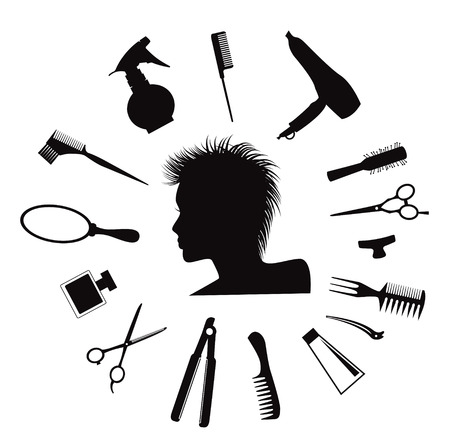 hairdressing: Woman silhouette with Hairdressing equipment icons.