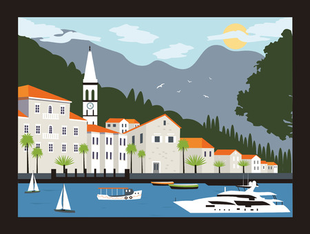 coastal: Perast city in Kotor bay with mountains and boat floating in Montenegro. Stock Photo