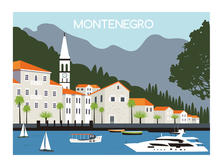 bay: Perast city in Kotor bay with mountains and boat floating in Montenegro. Stock Photo
