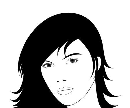 long black hair: Young Woman face.