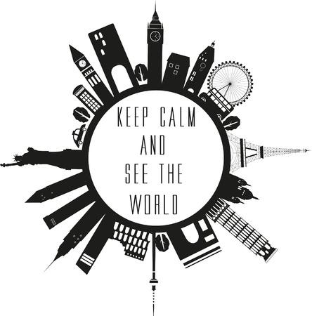 Travel globe in black and white with quote. Zdjęcie Seryjne