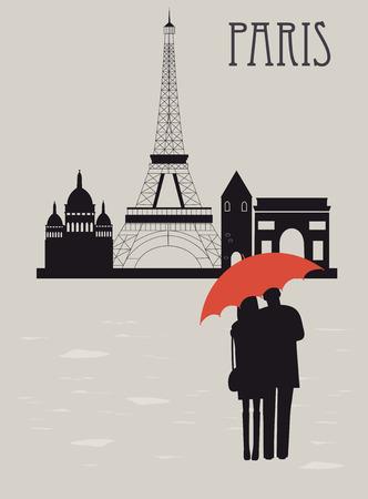 Mann und Frau mit Regenschirm in Paris in regnerischen Tag. Standard-Bild