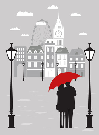 Man and woman with umbrella in London city in rainy day. Reklamní fotografie