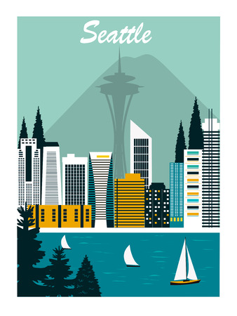 Seattle city in Washington n bright colors Stock Photo