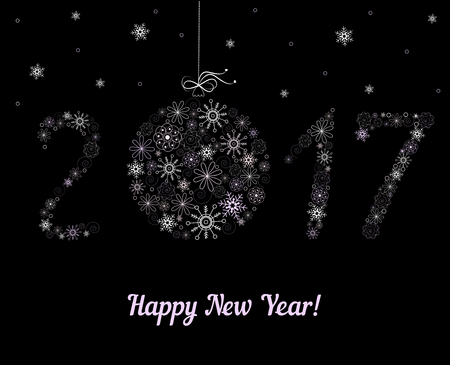 nouvel an: Happy New Year 2017 décoration.