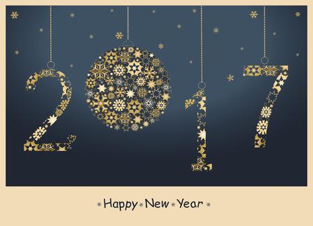 twenty thirteen: 2017 Happy New Year greeting card from golden snowflakes.