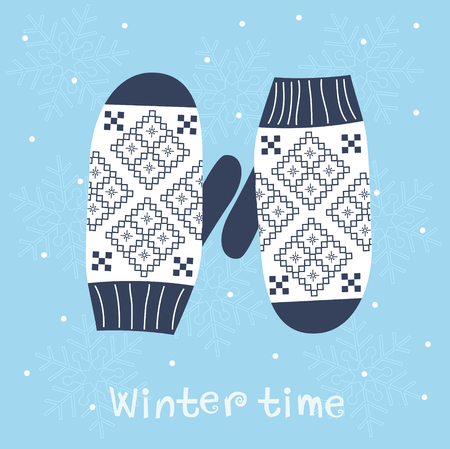 mittens: Christmas card with knitted mittens. Winter decoration.