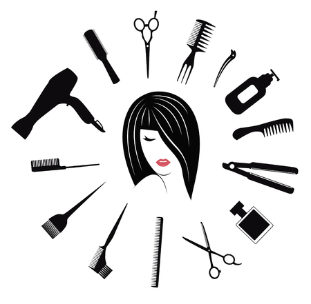 haircut: Hairdressing icons for woman