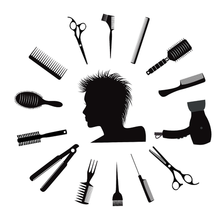coiffeur: Hairdressing equipment icons.