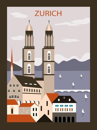 Zurich old city in Switzerland Europe.