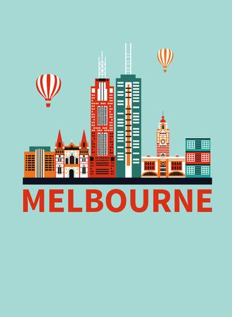 Melbourne city Australia cartoon colored travel background