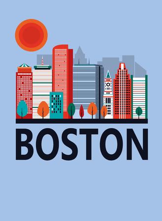 Boston city in sunny day, Massachusetts, USA Stock Photo