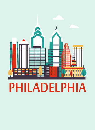 Philadelphia city Pennsylvania cartoon colored travel background