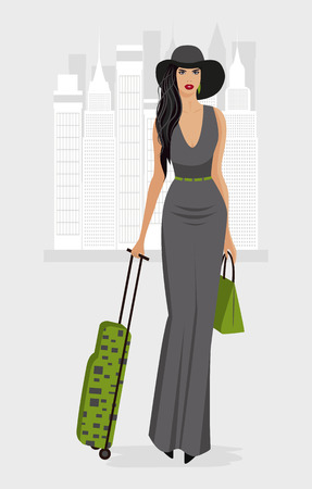 Fashion Woman in New York with sutecase. Stock Photo