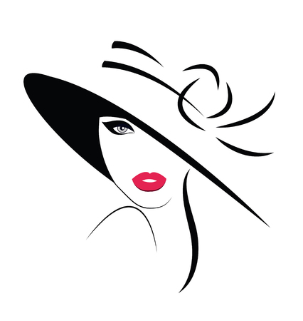 Long haired beautiful woman in hat.