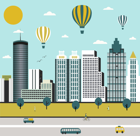 Atlanta city street in Georgia USA with hot air balloons