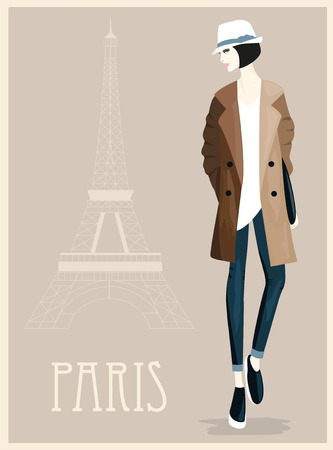 Illustration of Fashion Woman in Paris France.