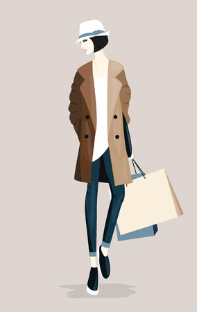 Illustration of Fashion stylish woman with shopping bags