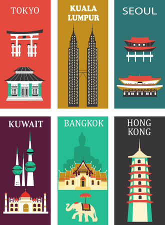 Symbols of asia famous cities made from different parts Zdjęcie Seryjne