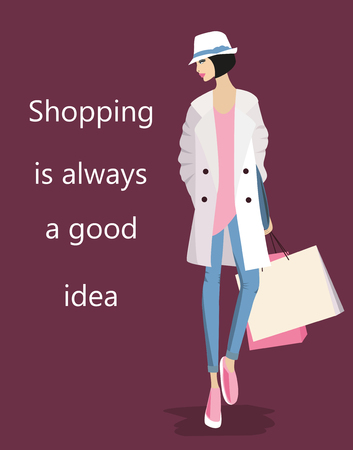 Illustration of Fashion stylish woman with a quote about shopping. Zdjęcie Seryjne