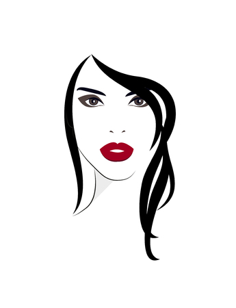 Young woman logo with long black hair. Zdjęcie Seryjne