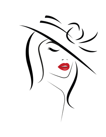Logo der Frau mit langen Haaren. Vektor