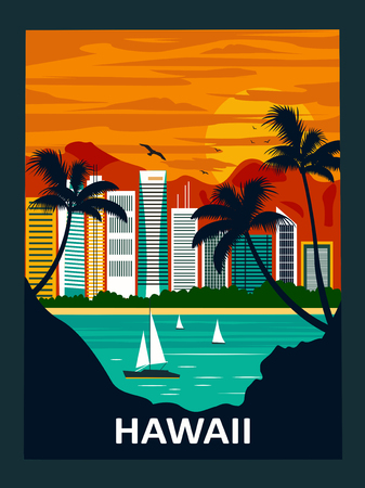 Honolulu city, Diamond Head and Waikiki Beach. Hawaii, USA
