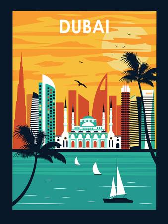 Illustration of Dubai city in bright colors