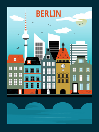 Illustration of Berlin city in bright colors