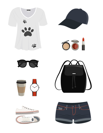 Set of Fashion Casual woman clothes and accessories. Zdjęcie Seryjne