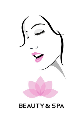 Logo for beauty and spa salons with stylish Woman face and lotus flower. Ilustracja