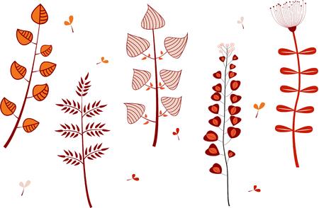 Set of cartoon flowers isolated on white.