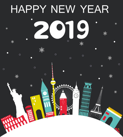 Happy New Year 2019 Travel background. Vector illustration