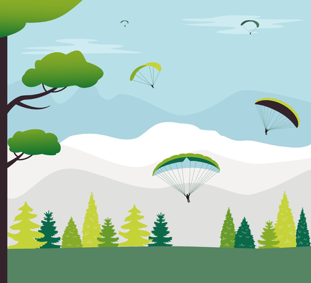Decoration with Hot air balloons and mountains. Vector