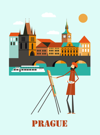 Prague city in Czech Republic. Vector